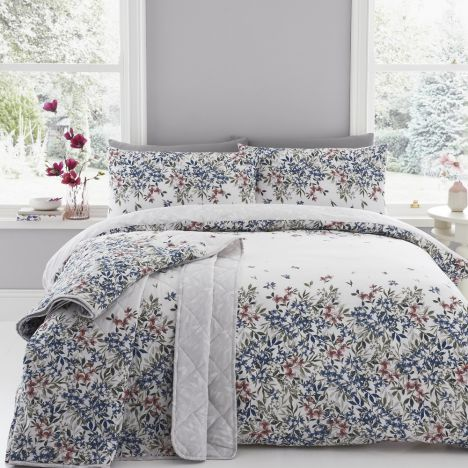 Melinda Floral Duvet Cover Set - Blue