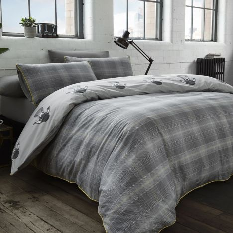 Racing Green Danby Check Duvet Cover Set - Charcoal Grey