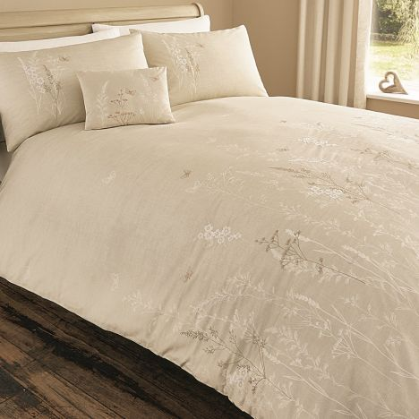 Claudia Floral Duvet Cover Set - Natural Cream
