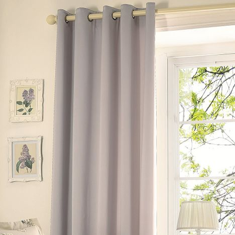 Mere Satin Thermal Lined Eyelet Curtains - Mink Natural