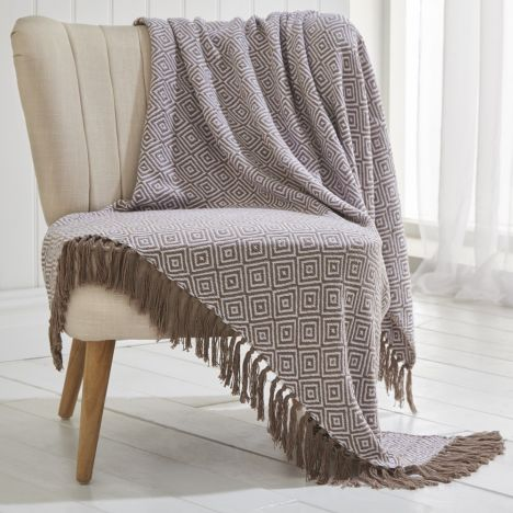 Ascot 100% Cotton Throw With Geometric Pattern - Pebble Natural