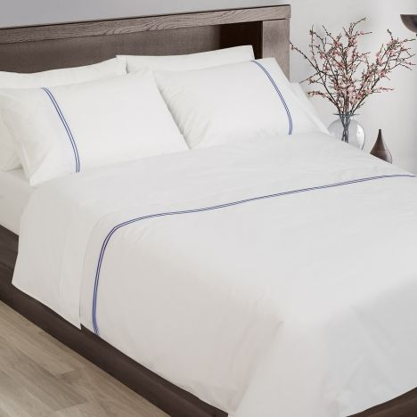 Hotel Collection 200TC 100% Cotton White Duvet Cover Set With Navy Cord Stitch