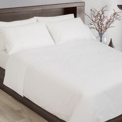 Hotel Collection 200TC 100% Cotton Flat Sheet - White