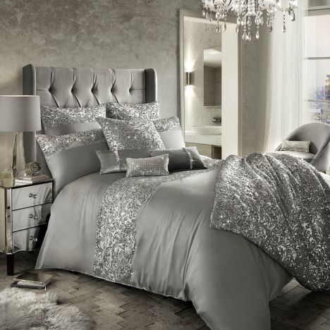 Kylie Minogue Cadence Satin Duvet Cover - Silver Grey