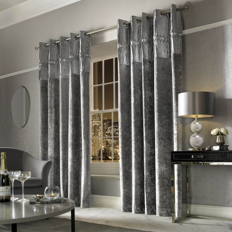 Superior Kylie Minogue Veda Crushed Velvet Fully Lined Eyelet Curtains   Silver Grey