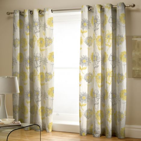 Catherine Lansfield Banbury Floral Fully Lined Eyelet Curtains Yellow