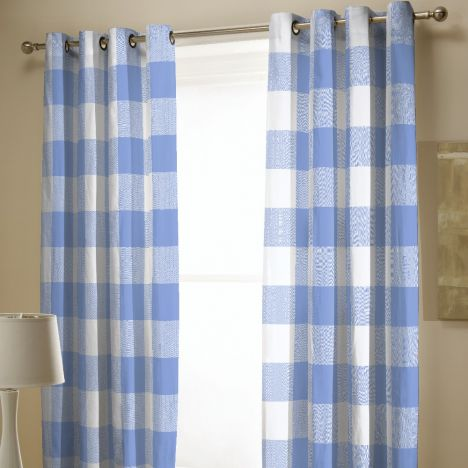 Catherine Lansfield Boston Check Fully Lined Eyelet Curtains - Blue