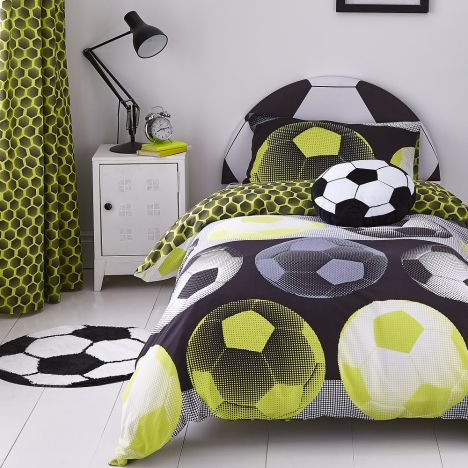 Catherine Lansfield Neon Football Duvet Cover Set - Yellow