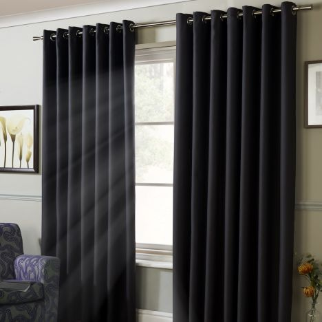 Thermal Blackout Eyelet Curtains - Charcoal Grey