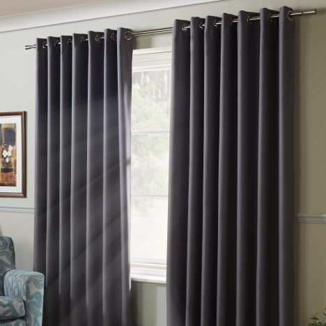 Thermal Blackout Eyelet Curtains - Silver