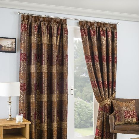 Casablanca Chenille Tape Top Ready Made Curtains - Terracotta Orange