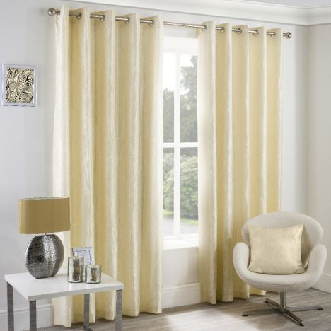 Crushed Taffeta Faux Silk Fully Lined Eyelet Curtains - Cream
