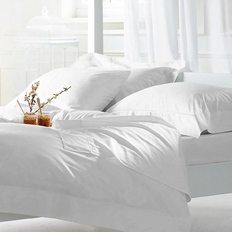 Hotel Quality Luxury 400TC Cotton Sateen Duvet Cover Set - White