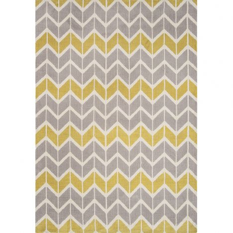 Arlo Geometric Chevron Rug - Lemon Yellow Grey 06