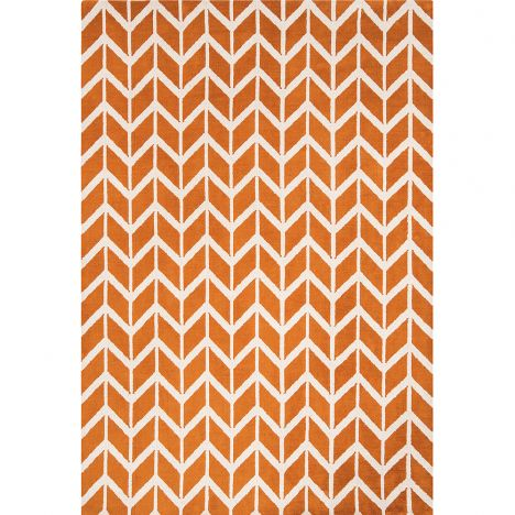 Arlo Geometric Chevron Rug - Orange 07
