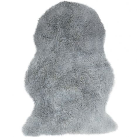 Auckland Luxury Faux Sheepskin Plain Rug - Silver