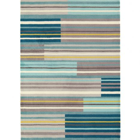 Boca Machine Woven and Printed Stripe Rug - Aqua Blue Multi 08