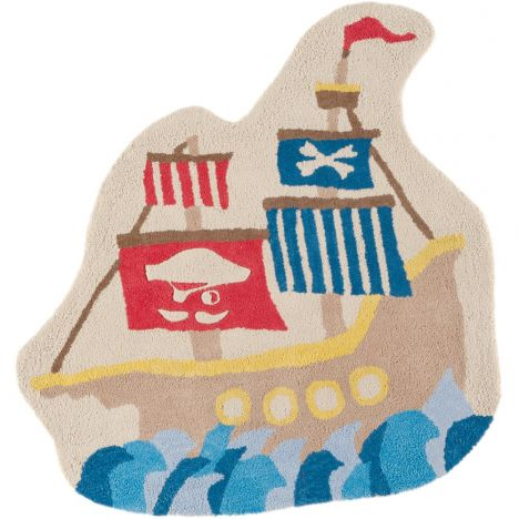 Candy Hand Tufted Kids Pirate Ship Rug - Multi 0005