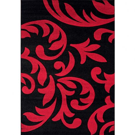 Couture Machine Woven Floral Rug - Red Black 09