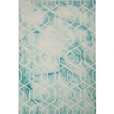 Fresco Hand Tufted Geometric Rug - Aqua Blue
