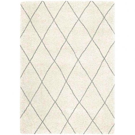 Logan Machine Woven Geometric Rug - White Black 07