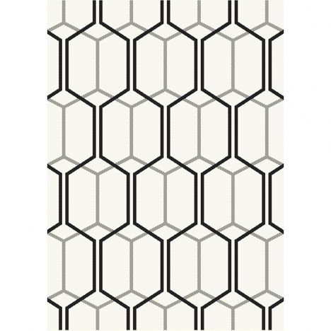 Patio Machine Woven Geometric Rug - Ivory Cream Black 08