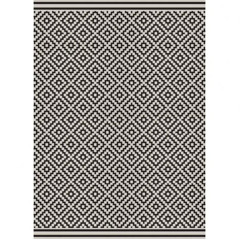 Patio Machine Woven Geometric Rug - Black 12