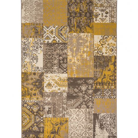 Revive Machine Made Check Rug - Yellow Grey 06