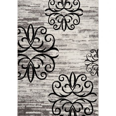 Vogue Machine Woven Floral Rug - Black Grey White 36