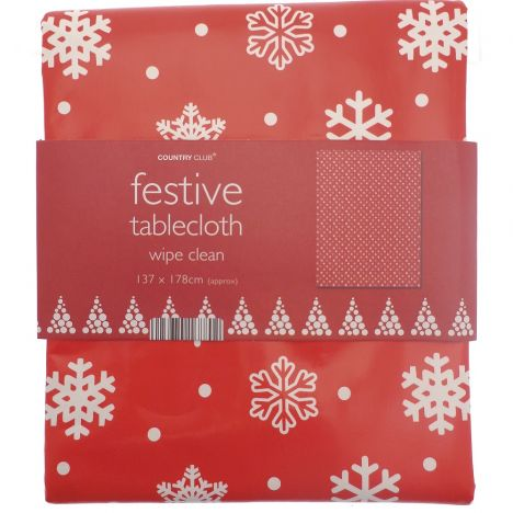Festive Christmas PVC Tablecloth - Snowflake Red