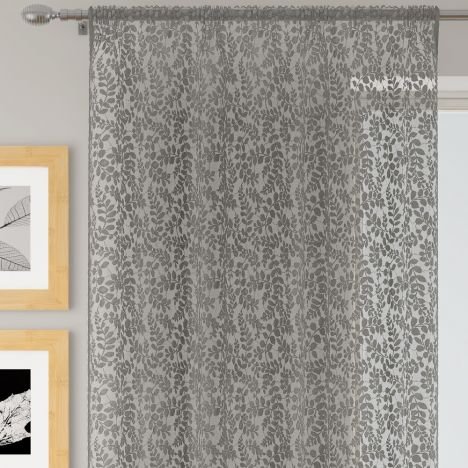 Willow Floral Lace Voile Curtain Panel - Silver Grey
