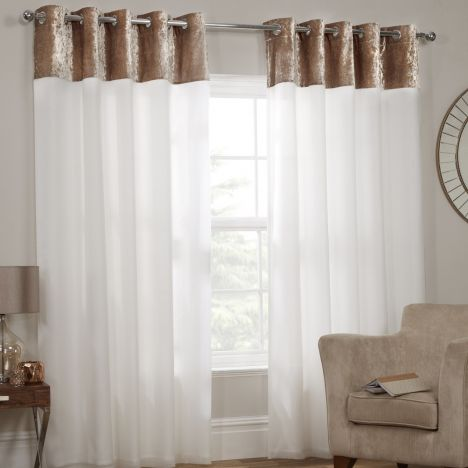 Kensington Crushed Velvet Eyelet Lined Voile Curtains - Champagne Gold Cream
