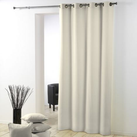 Essentiel Plain Single Curtain Panel with Metal Eyelets - Cream