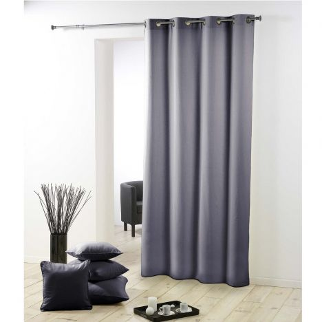 Essentiel Plain Single Curtain Panel with Metal Eyelets - Grey