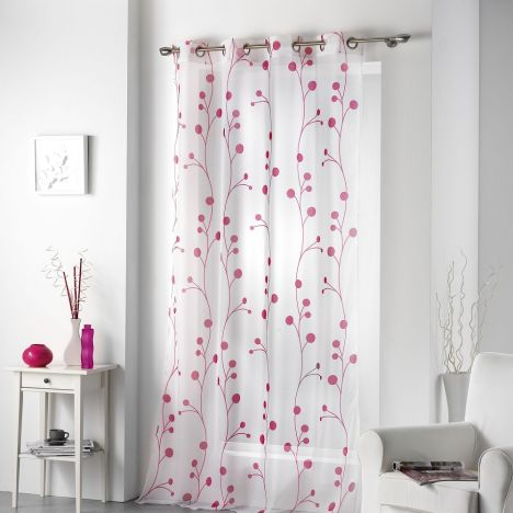 Clochettes Printed Eyelet Voile Panel - Fuchsia Pink