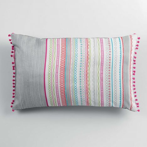 Analea Striped Pom Pom Cushion - Multicolour