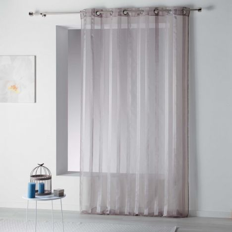 Bandas Eyelet Voile Curtain Panel with Vertical Stripes - Hazelnut Natural