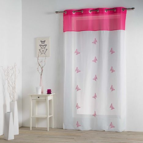 Chrysalide Butterfly Eyelet Voile Curtain - Fuchsia Pink