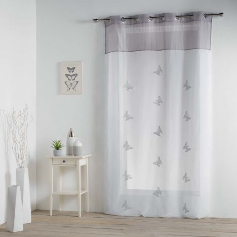 Chrysalide Butterfly Eyelet Voile Curtain - Grey