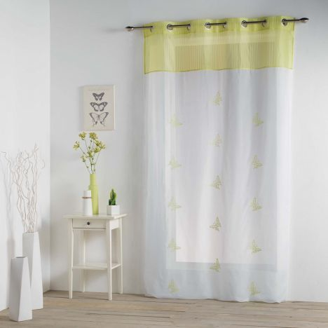 Chrysalide Butterfly Eyelet Voile Curtain - Lime Green