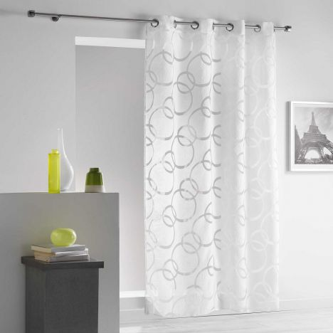 Curvy Crushed Look Eyelet Voile Curtain Panel - White