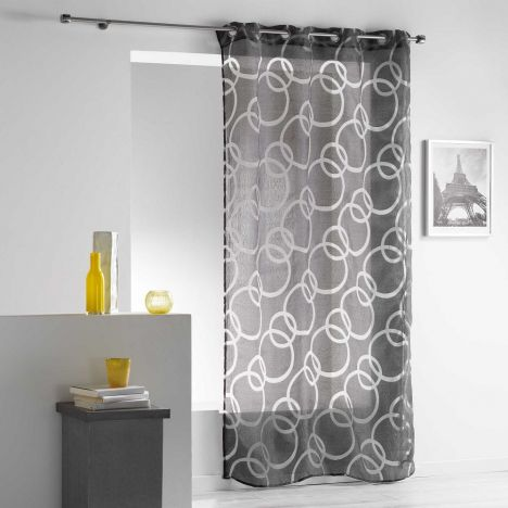 Curvy Crushed Look Eyelet Voile Curtain Panel - Charcoal Grey