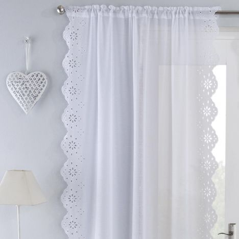 Harmony Embroidered Voile Curtain Panel - White