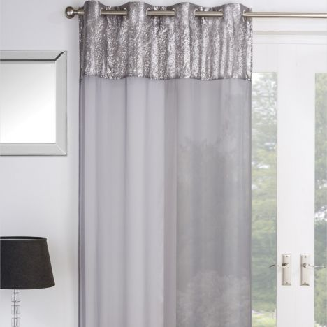 Empire Sequin Voile Curtain Panel - Silver Grey