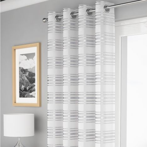Leon Stripe Voile Curtain Panel - White