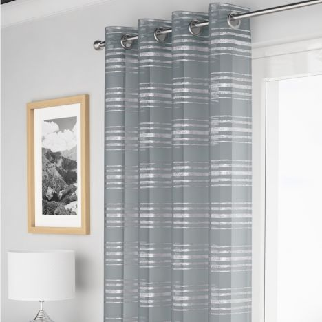 Leon Stripe Voile Curtain Panel - Silver Grey