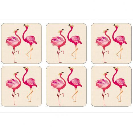 Sara Miller Flamingo Set Of Six Coasters Tonys Textiles