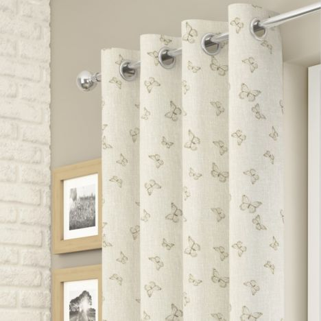 Iona Butterfly Voile Curtain Panel - Champagne Cream