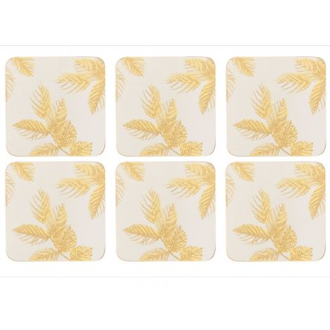 Sara Miller Etched Leaves Set of Four Large Placemats - Light Grey