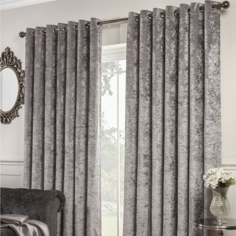 Crushed Velvet Self-Lined Blackout Ring Top Curtains - Silver Grey
